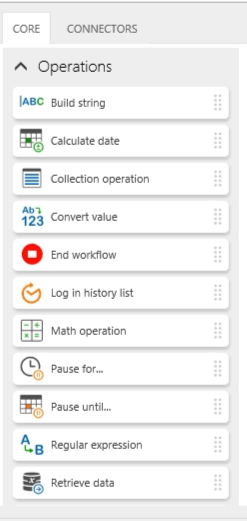 Various Operations workflow actions.