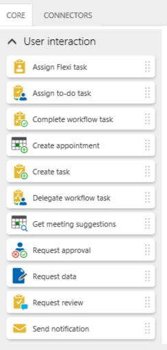 Various user interactions workflow actions.