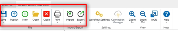 As with Nintex Forms, you can save, publish, export, and import your work.